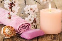 Jabón con la toalla para los procedimientos del cuarto de baño, la cáscara del mar y el burning Fotografía de archivo libre de regalías