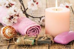 Jabón con la toalla para los procedimientos del cuarto de baño, la cáscara del mar y el burning Imágenes de archivo libres de regalías