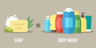 Jabón contra lavado del cuerpo stock de ilustración