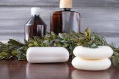 Jabón cosmético, latas de aceite esencial en un fondo gris imagen de archivo