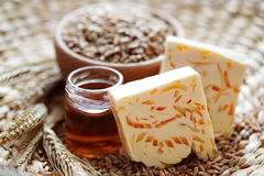 Jabón de la miel y del trigo Imagen de archivo libre de regalías