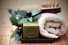 Jabón del aceite de oliva Imágenes de archivo libres de regalías