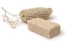Jabón del Loofah Imagen de archivo libre de regalías