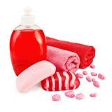 Jabón diferente con la toalla Imagenes de archivo