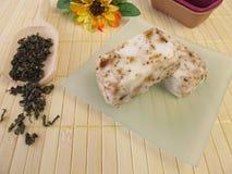 Jabón hecho en casa del té verde Imágenes de archivo libres de regalías