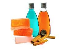 Jabón hecho a mano, botella dos de gel de la ducha y canela Foto de archivo