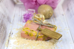 Jabón hecho a mano con los ingredientes frescos Imagen de archivo libre de regalías