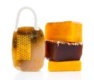 Jabón hecho a mano de la miel Imagen de archivo