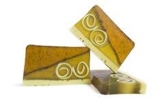 Jabón hecho a mano del té verde Foto de archivo