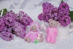 Jabón hecho a mano formado como osos de peluche imagen de archivo libre de regalías