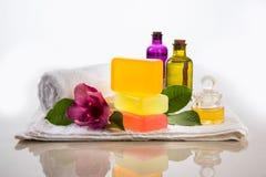 Jabón hecho a mano o jabón de Ayurvedic Imagen de archivo libre de regalías
