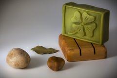 Jabón natural del laurel Fotografía de archivo