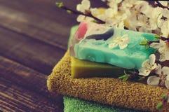 Jabón natural del trabajo hecho a mano, de la toalla, y de las ramas de la primavera de un albaricoque Imagenes de archivo