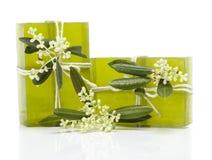 Jabón verde oliva Fotos de archivo libres de regalías