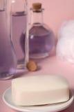 Jabón y esponja Fotografía de archivo