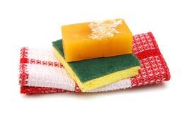 Jabón y toallas Foto de archivo libre de regalías
