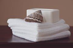 Jabón y toallitas Imágenes de archivo libres de regalías