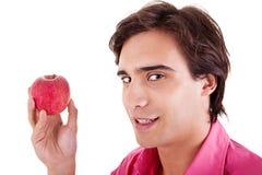 jabłczana łasowania mężczyzna czerwień Fotografia Royalty Free