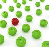 jabłczana jabłek tła zieleni jeden czerwień Obraz Royalty Free
