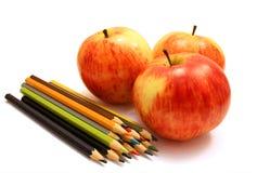 jabłczana koloru ołówków czerwień trzy Zdjęcie Royalty Free