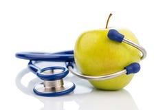 jabłczana konceptualna diety łasowania opieka zdrowotna zdrowa ilustruje wizerunku odżywiania stetoskop Zdjęcie Royalty Free