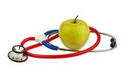 jabłczana konceptualna diety łasowania opieka zdrowotna zdrowa ilustruje wizerunku odżywiania stetoskop Zdjęcia Royalty Free