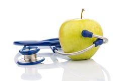 jabłczana konceptualna diety łasowania opieka zdrowotna zdrowa ilustruje wizerunku odżywiania stetoskop Fotografia Royalty Free