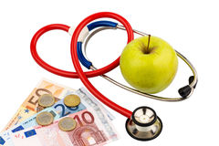 jabłczana konceptualna diety łasowania opieka zdrowotna zdrowa ilustruje wizerunku odżywiania stetoskop Zdjęcie Stock