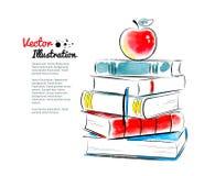 jabłczana książek tła cork notatki czerwony Zdjęcia Royalty Free