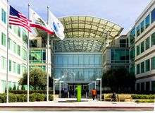 Jabłczana Nieskończona pętla, Cupertino, Kalifornia, usa - Styczeń 30, 2017: Jabłczany materiał przed Jabłczanymi świat kwaterami Obraz Royalty Free