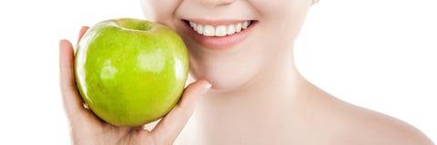jabłczana piękna zielona kobieta fotografia stock