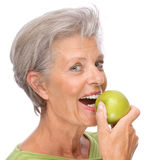 jabłczana starsza kobieta zdjęcie royalty free