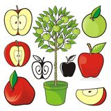 Jabłczane ikony ilustracja wektor
