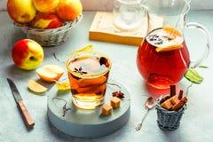 Jabłczanego cydru napój, gorący koktajl z cynamonowymi kijami i jabłko plasterki, pikantność herbaciane Jesień ranku pogodny wygo zdjęcie stock
