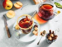 Jabłczanego cydru napój, gorący koktajl z cynamonowymi kijami i jabłko plasterki, pikantność herbaciane Jesień wygodny nastrój zdjęcie stock