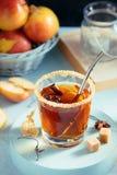 Jabłczanego cydru napój, gorący koktajl z cynamonowymi kijami i jabłko plasterki, pikantność herbaciane Jesień wygodny nastrój Za zdjęcia stock