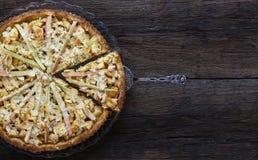 Jabłczanego Cynamonowego Rabarbarowego Marcepanowego ciasta Pasztetowi Migdałowi płatki obraz royalty free