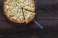 Jabłczanego Cynamonowego Rabarbarowego Marcepanowego ciasta Pasztetowi Migdałowi płatki zdjęcie royalty free