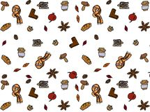 jabłczanego jesień świeczek składu susi liść target2422_0_ wazę Wzór robić jesień liście, acorn, sosna konusuje Mieszkanie nieatu Obrazy Royalty Free