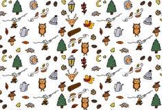 jabłczanego jesień świeczek składu susi liść target2422_0_ wazę Wzór robić jesień liście, acorn, sosna konusuje Mieszkanie nieatu Obrazy Stock