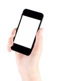 jabłczanego ręki iphone odosobniony mobilny smartphone Obraz Royalty Free