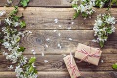 Jabłczani okwitnięcia i prezenta pudełka na drewnianym tle kosmos kopii fotografia stock