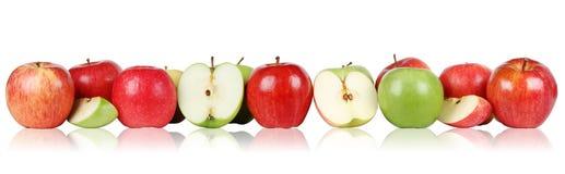 Jabłczani owoc jabłka graniczą z rzędu zdjęcia royalty free