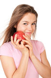 jabłczani szczęśliwi mienia kobiety potomstwa zdjęcie stock