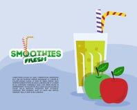 Jabłczany świeży Smoothie Ilustracji