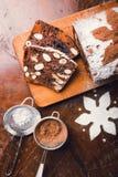 Jabłczany chleb z kakao, owoc i dokrętkami, Obrazy Stock
