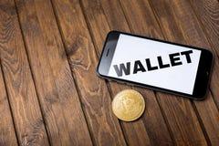 Jabłczany iPhone 6s i słowo portfel na ekranie Zdjęcie Royalty Free