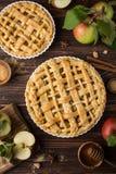 Jabłczany kulebiak i składniki na drewnianym tle fotografia royalty free