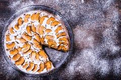 Jabłczany kulebiak na nieociosanym tle Fotografia Stock