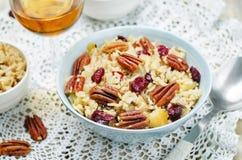 Jabłczany Pecan suszył cranberries i brązów dzikich ryż obrazy royalty free